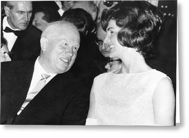 Khrushchev And Jackie Kennedy Greeting Card