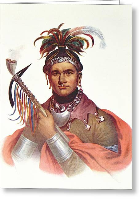 Ki-on-twog-ky Or Complanter, A Seneca Chief, 1796, Illustration From The Indian Tribes Of North Greeting Card by F. Bartoli