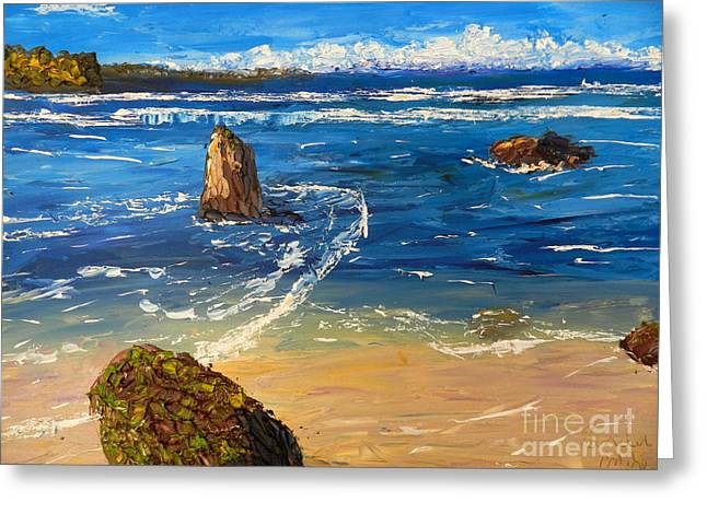 Greeting Card featuring the painting Kiama Beach by Pamela  Meredith