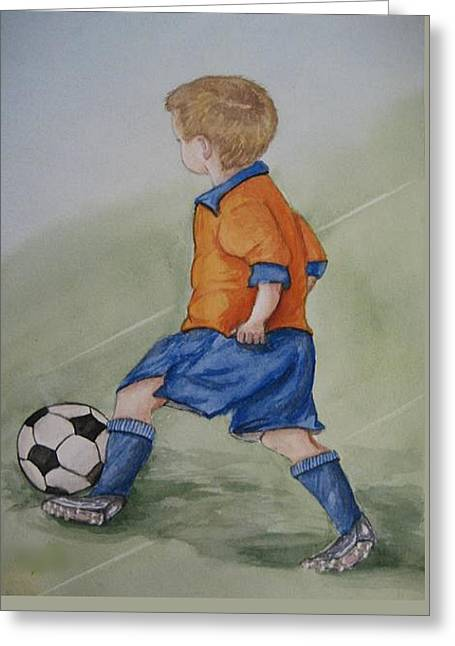 Kick N It ....boy And Soccer Greeting Card