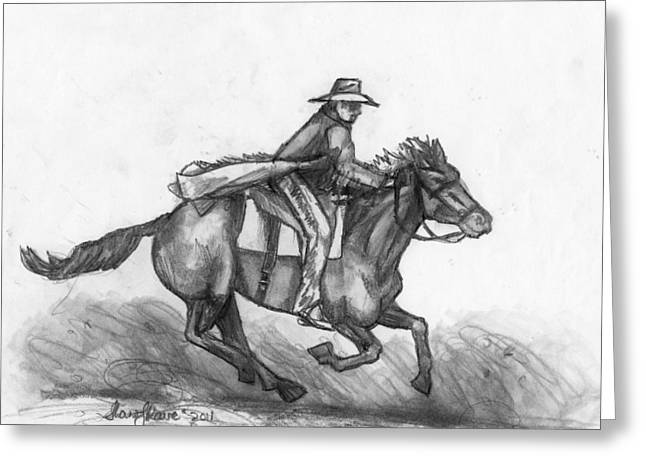 Greeting Card featuring the drawing Kickin Up Dust by Shana Rowe Jackson
