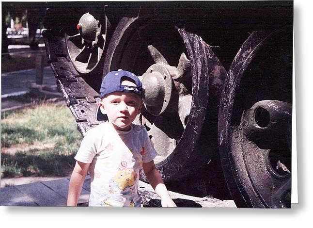 Kid And Tank. Greeting Card by Vitaliy Shcherbak