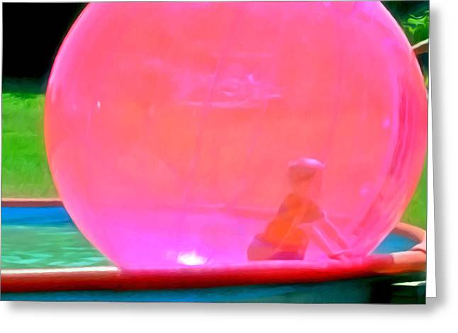 Kid In Bubble Ball 1 Greeting Card by Lanjee Chee