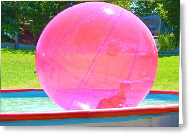 Kid In Bubble Ball 2 Greeting Card by Lanjee Chee