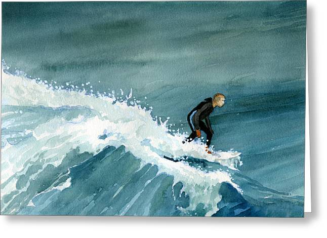 Kid Riding Wave Greeting Card