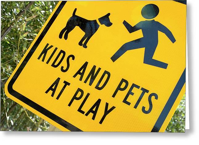 Kids And Pets At Play, Warning Sign Greeting Card by Julien Mcroberts