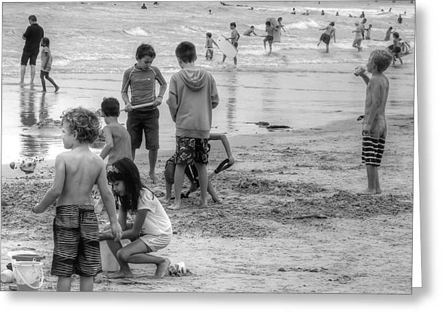 Kids At Beach Greeting Card