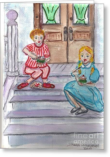 Kids Eating Ice Cream Greeting Card by Debbie Wassmann