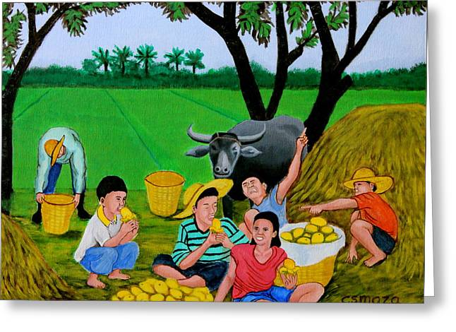 Greeting Card featuring the painting Kids Eating Mangoes by Cyril Maza