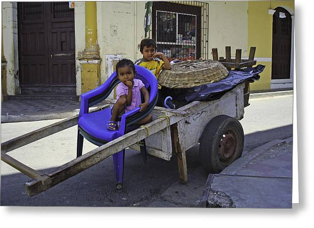 Kids In Wooden Wheel Barrel Greeting Card by Camilla Fuchs