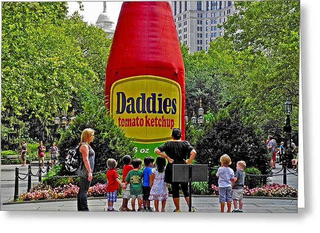 Kids Looking At Daddies Ketchup In A Park In New York City-new York Greeting Card by Ruth Hager