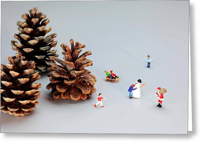 Kids Merry Christmas By Pinecones Greeting Card by Paul Ge