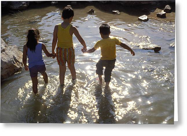Kids Wading In A Pond Greeting Card by Mark Goebel