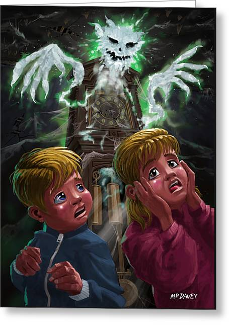 Kids With Haunted Grandfather Clock Ghost Greeting Card by Martin Davey