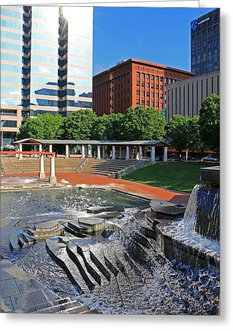 Kiener Plaza Morning Greeting Card by Christopher McKenzie