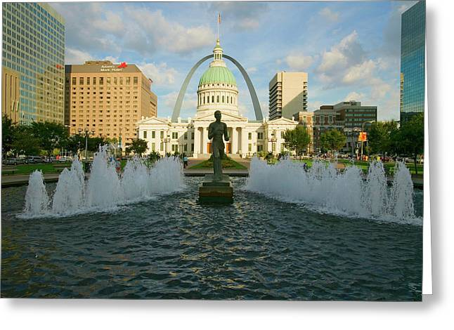 Kiener Plaza - The Runner In Water Greeting Card