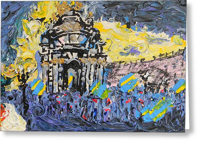 Kiev Burning Greeting Card by Marwan George Khoury