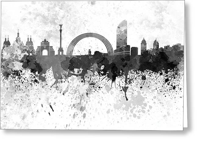 Kiev Skyline In Black Watercolor On White Background Greeting Card by Pablo Romero