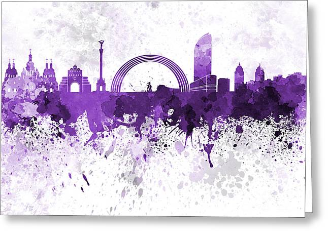 Kiev Skyline In Purple Watercolor On White Background Greeting Card by Pablo Romero