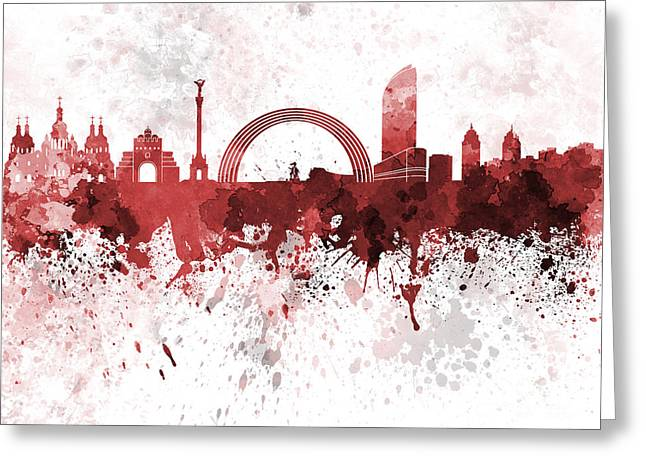 Kiev Skyline In Red Watercolor On White Background Greeting Card by Pablo Romero