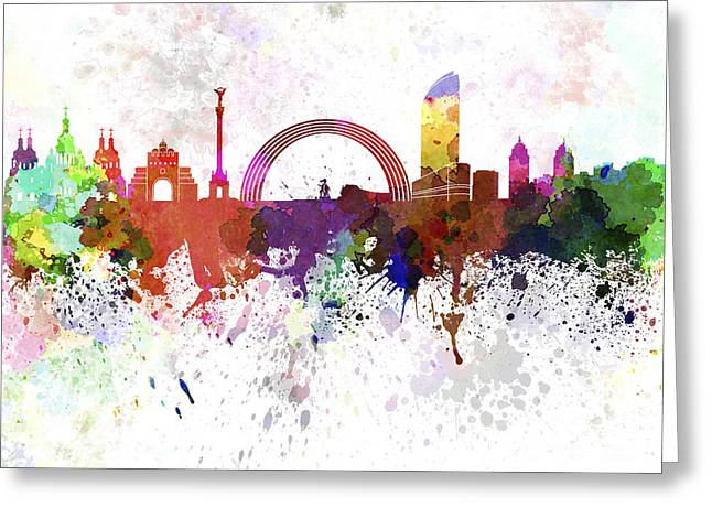 Kiev Skyline In Watercolor On White Background Greeting Card by Pablo Romero