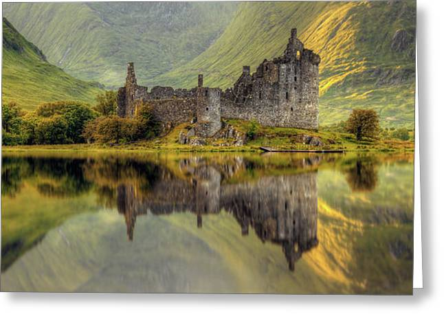 Kilchurn Castle Reflection In Loch Awe Greeting Card by Panoramic Images