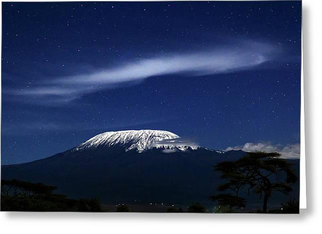 Kilimanjaro In Moonlight Greeting Card by Babak Tafreshi
