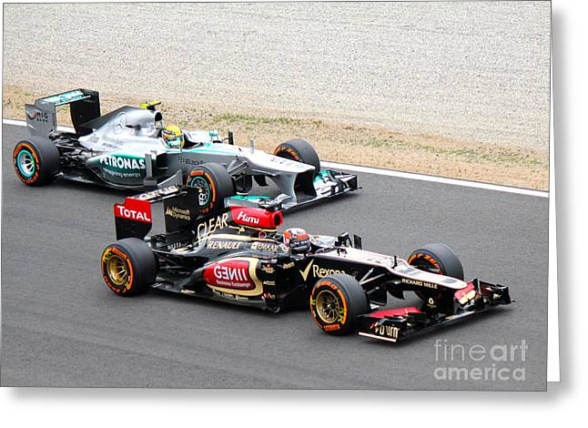 Kimi Raikkonen And Lewis Hamilton Greeting Card by David Grant