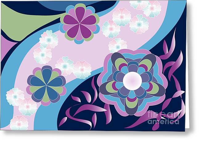 Kimono-inspired Summer Flowers By The River Greeting Card by Beverly Claire Kaiya