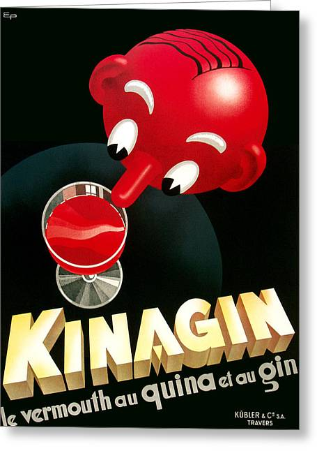 Kinagin Vermouth Advertising Poster     Greeting Card by Gary Perron