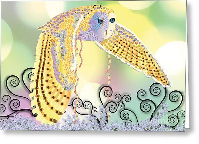 Greeting Card featuring the digital art Kindred Light Owl by Kim Prowse