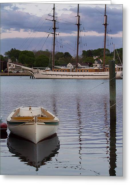 Kindred Spirits - Boat Reflections On The Mystic River Greeting Card