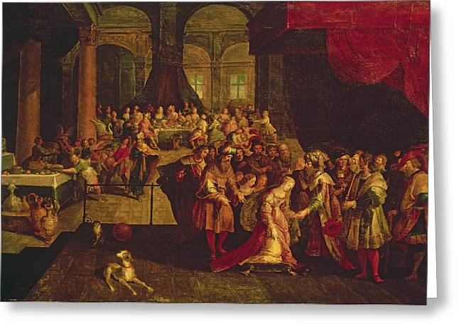 King Ahasuerus Crowns Esther Oil On Canvas Greeting Card by Frans II the Younger Francken