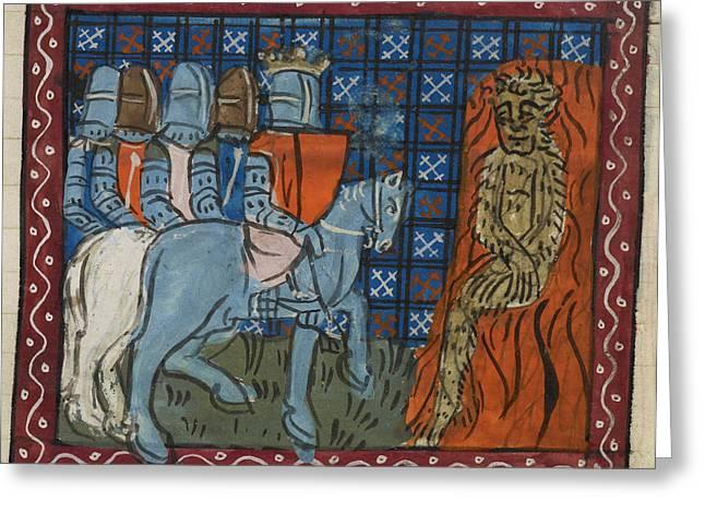 King Alexander Burning A Wild Man Greeting Card by British Library