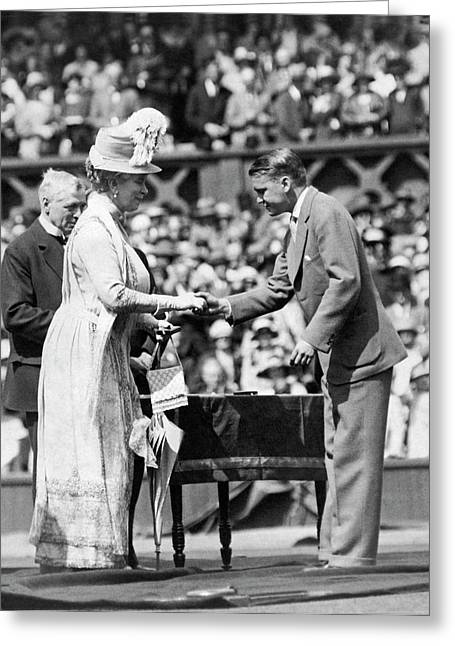 King And Queen At Wimbledon Greeting Card by Underwood Archives