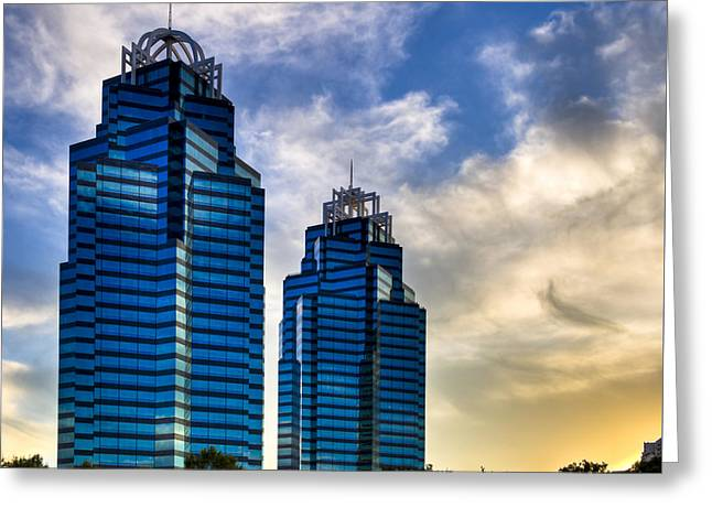 Greeting Card featuring the photograph King And Queen Towers - Atlanta by Mark E Tisdale