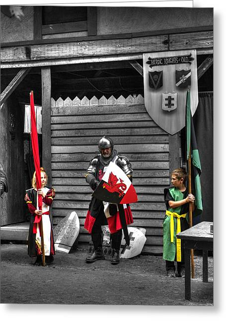 King Arthur Pendragon And Squires Greeting Card by John Straton