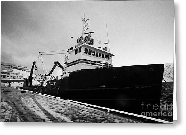 king crab fishing boat Honningsvag harbour finnmark norway europe Greeting Card