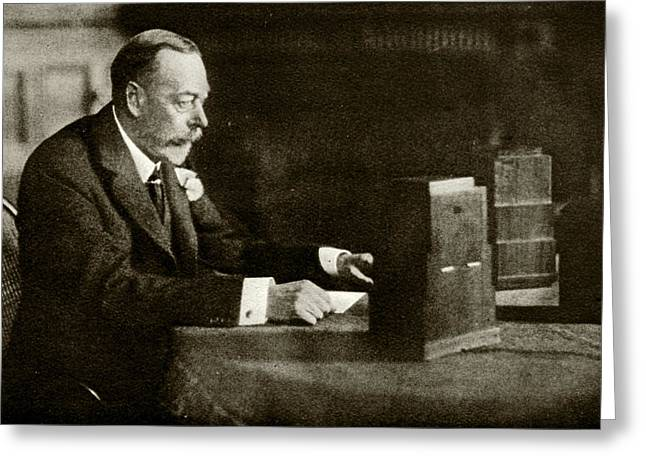 King George V Speaking On The Radio Greeting Card by Cci Archives