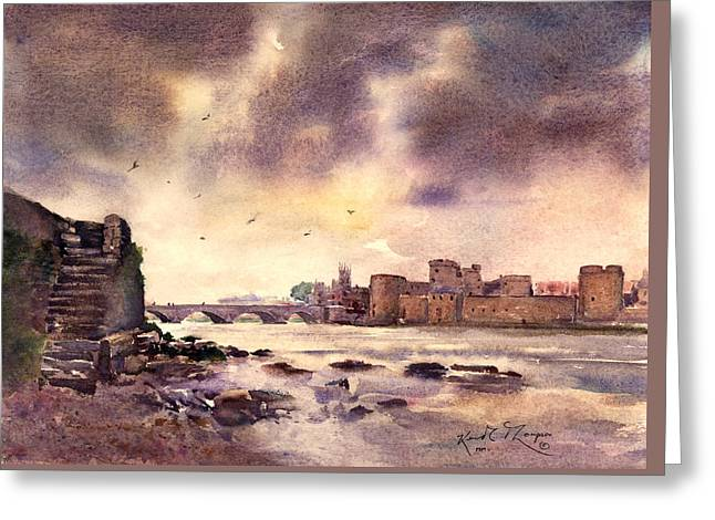King Johns Castle Downstream County Limerick Ireland Greeting Card by Keith Thompson
