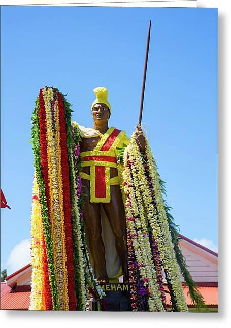 King Kamehameha Statue, Flower Leis Greeting Card