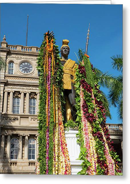 King Kamehameha Statue With Lei Greeting Card
