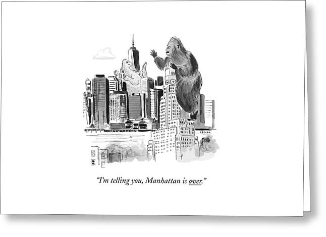 King Kong, Atop The Williamsburgh Savings Bank Greeting Card by Emily Flake