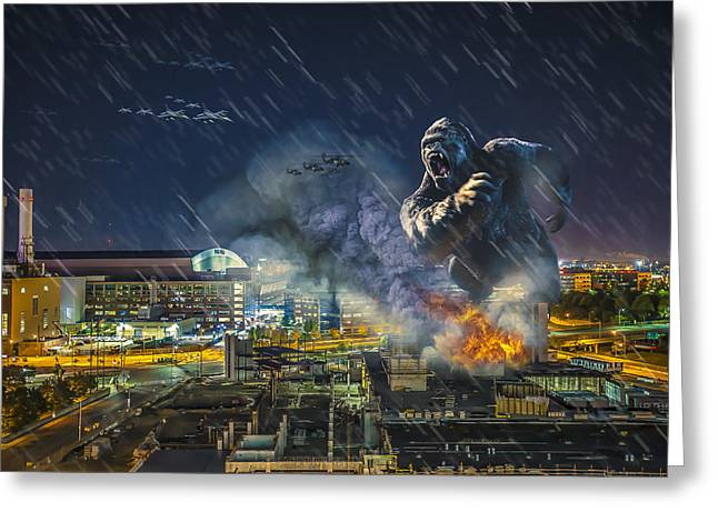 Greeting Card featuring the photograph King Kong By Ford Field by Nicholas  Grunas