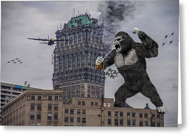 Greeting Card featuring the photograph King Kong In Detroit At Wurlitzer by Nicholas  Grunas