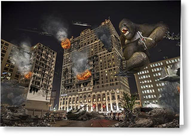 Greeting Card featuring the photograph King Kong In Detroit Westin Hotel by Nicholas  Grunas