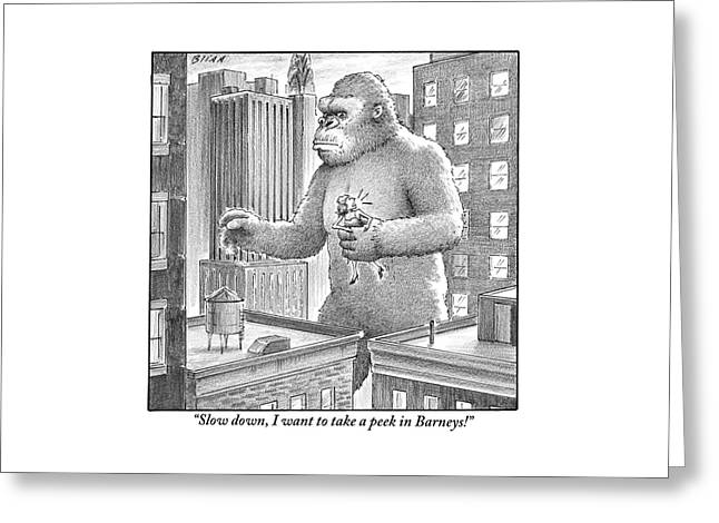 King Kong Stands In A Large City Greeting Card