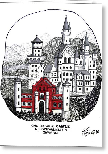 Historic Buildings Images Drawings Greeting Cards - King Ludwigs Castle  Greeting Card by Frederic Kohli