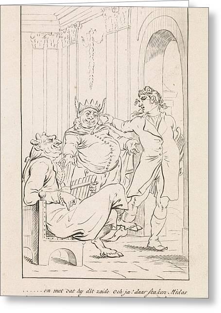 King Midas With Donkey Ears, Danil Veelwaard Greeting Card by Dani?l Veelwaard (i) And Jacob Smies And Fran?ois Bohn