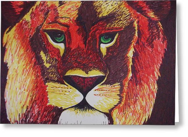 Lion In Orange Greeting Card